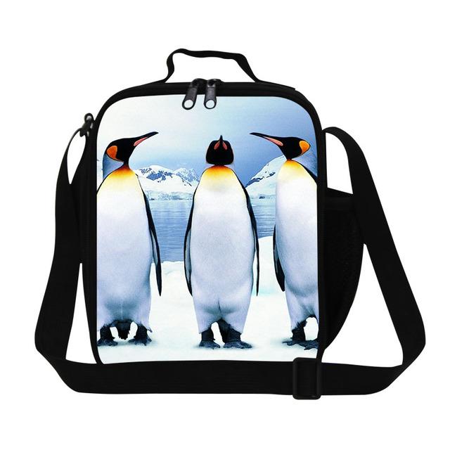 Patrón pingüino dispalang aisladas bolsas de almuerzo para los adolescentes lindo animal print caja del envase de alimento para el cabrito de picnic bolsa de comida