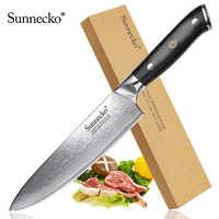 """SUNNECKO Superio 8 """"Cuchillo de Chef afilado japonés VG10 cuchilla de acero cuchillos de cocina mango G10 Damasco cuchilla de corte"""