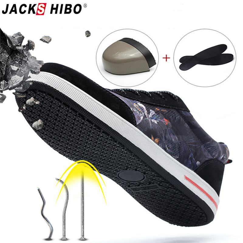 JACKSHIBO Men Safety Shoes Breathable Aqua Work Boots Outdoor Puncture Proof Steel Toe Cap Shoes Construction Safety Boots Shoe