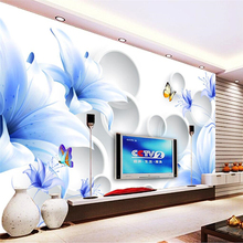 beibehang lily circle Custom photo wallpaper for walls 3d TV background living room mural wall papers home decor contact-paper
