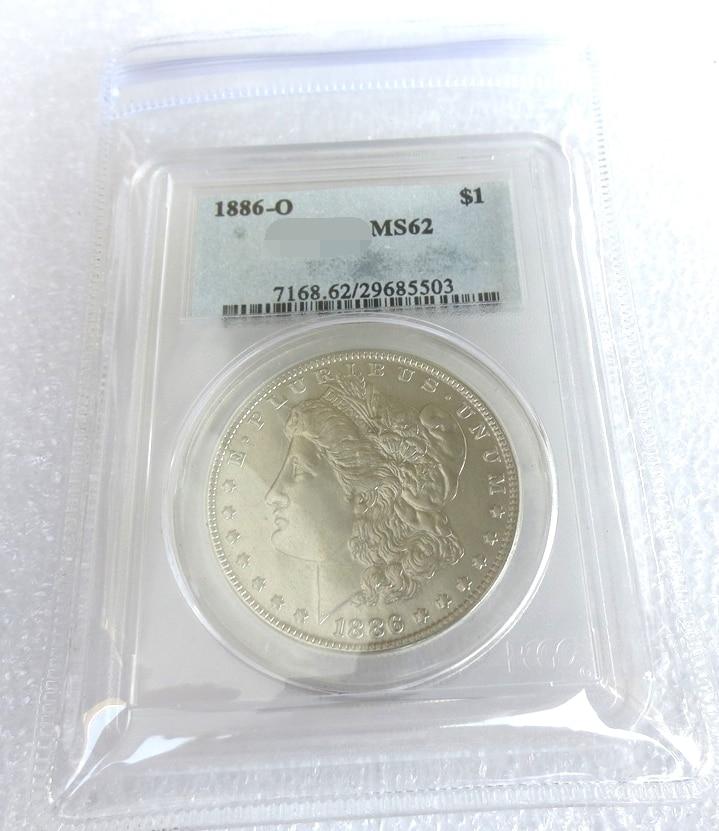 NOUS Coin 1886O MS62 Morgan 1 $ Pièces D'argent monnaie haut transparent boîte Livraison gratuite
