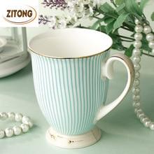 Britischen Gereinigtes Bone China Kaffeetasse Qualität Waren Vergoldung Keramik-tasse Mode Gestreiften Design