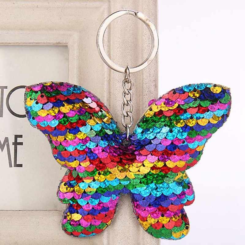 Hermoso brillo lentejuelas mariposa llavero brillante arco llaveros señoras bolso coche colgante accesorios joyería regalo
