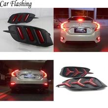 1 Pair Rear light For Honda Civic 2016 2017 2018 LED DRL Rear Bumper tail light Brake Lights turn Signal lamp reflector