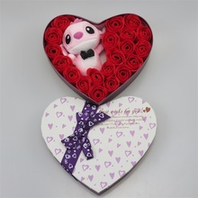 Heart Shaped Flower Box with Plush Toy And Soap Roses
