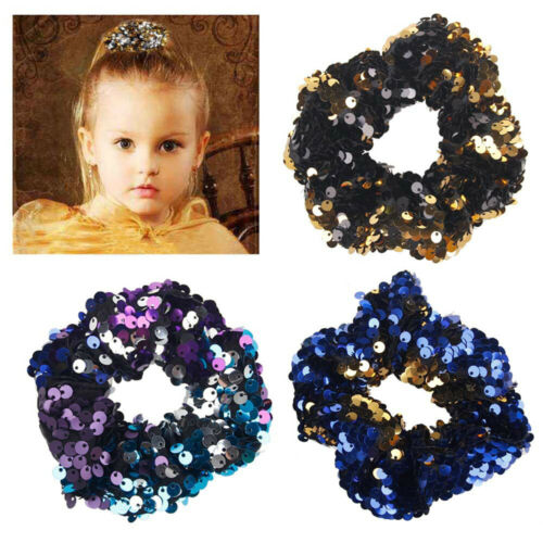 Baby Girl Fashion Elastic Hair Rope Rings Ties Scrunchie Holder Sequins Hair Band New Sequin Shildren's Hair Ring