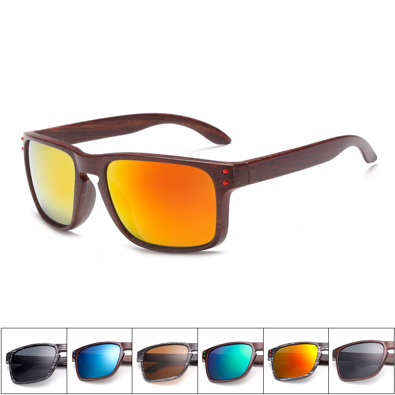 Mens Wood Grain Zonnebril Heren Vintage Eyewear Rivets Coating Bril - Kledingaccessoires
