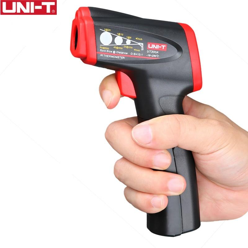 دماسنج مادون قرمز UNI-T UT300A دما را از مسافت آسان برای اندازه گیری دمای تست سریع بدون تماس