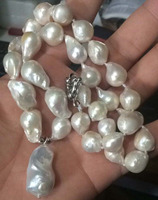 Hand Made Real 12x15mm Natural South Baroque White Pearl Necklace Pendant 18AAA