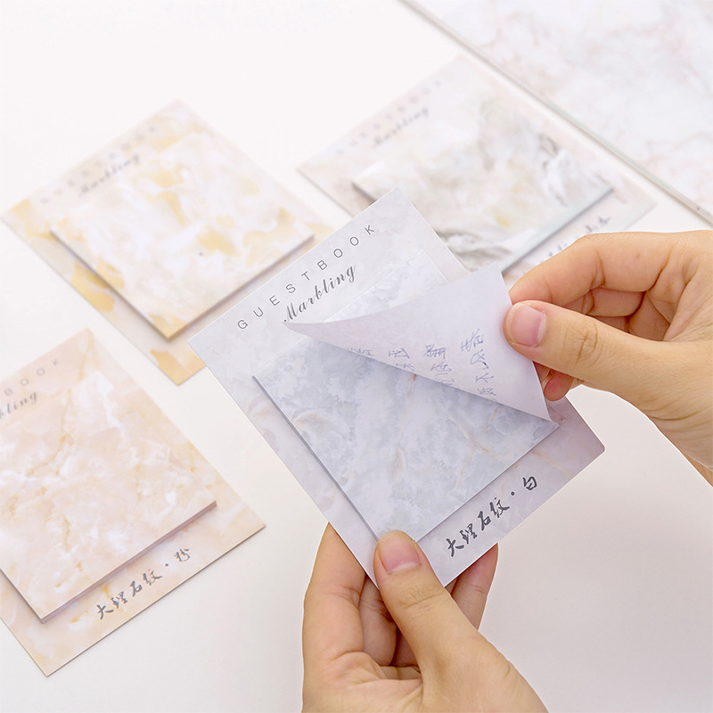 Cute Kawaii Marble Memo Pad Sticky Notes Stationery Sticker Index Posted It Planner Stickers Notepads Office School Supplies