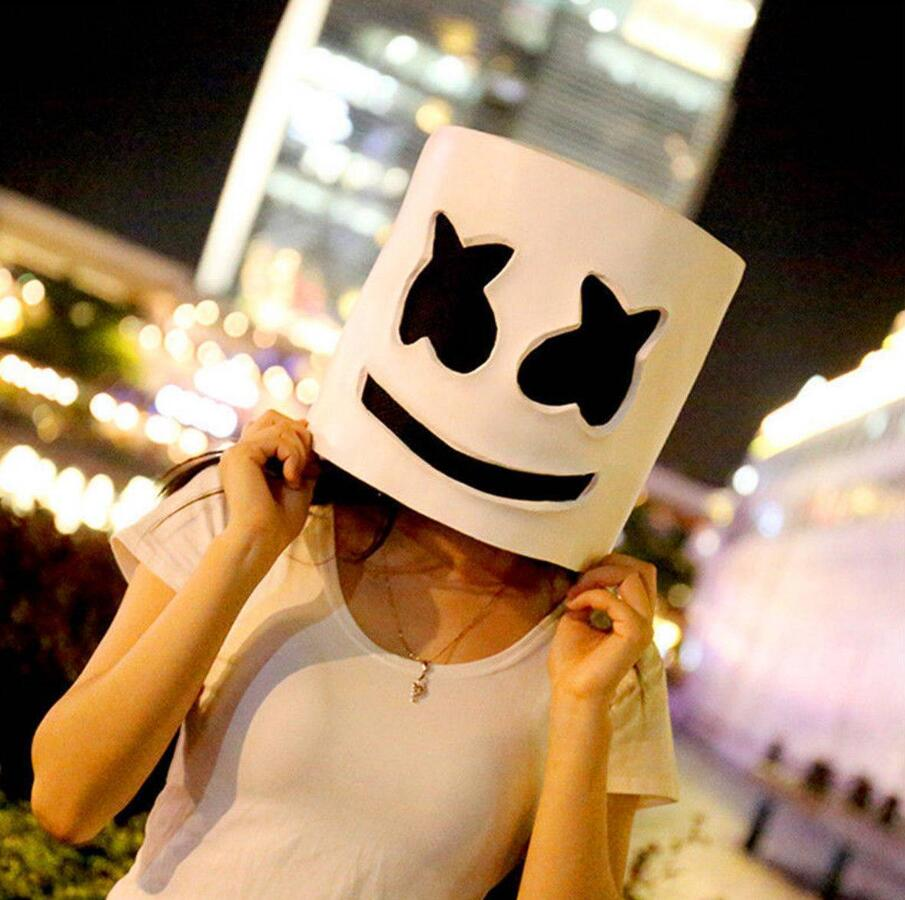 Marshmallow Cosplay Latex LED Mask DJ Marshmello Cos Halloween Cos Headgear Adult Cosplay Accessory White Mask with Black Eyes