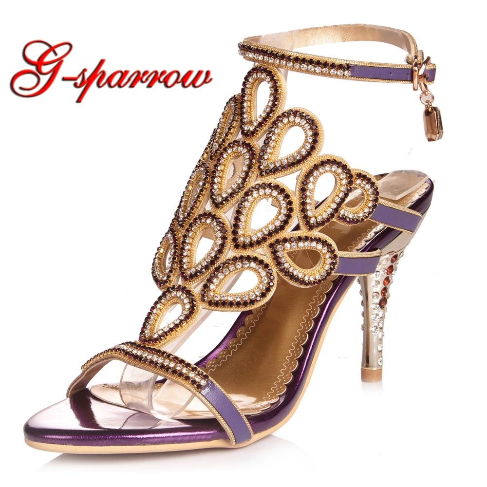 Nouveau Color À Bout De En Hauts purple Paon Sandales Mariage Ouvert Chaussures Gold Talons Style Cristal Strass Color Femmes Sexy 2018 Belle Été S5RwAA