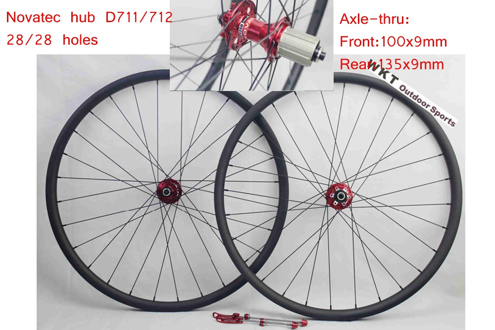 MTB 29er Carbon wheels 25mm deep 30mm wide Hookless mountain 3K bike wheels with Novatec D711/D712 Disc hub 27 5er mtb wheels width 35mm carbon mtb wheels novatec 791 792 thur axle 650b mountain bikes bicycle mtb wheels