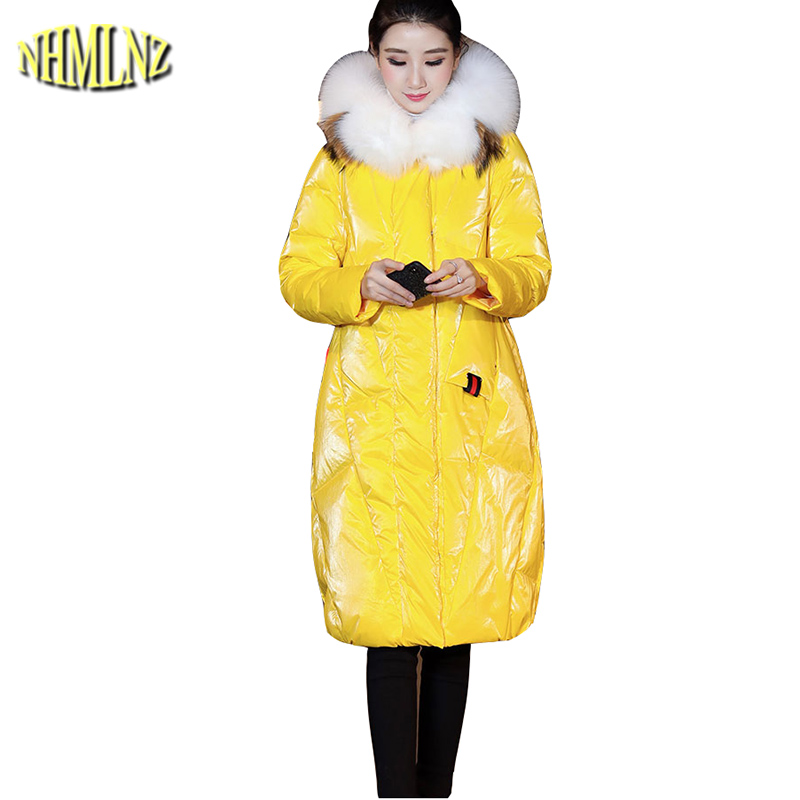 Glossy Women   Down   jacket New Fashion Large size Warm Fur collar High quality White duck   down   Medium long Women   down     Coat   LH375