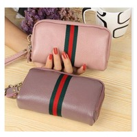 2018 new leather wallet double zipper multi color European and American fashion lady purse mobile phone bag