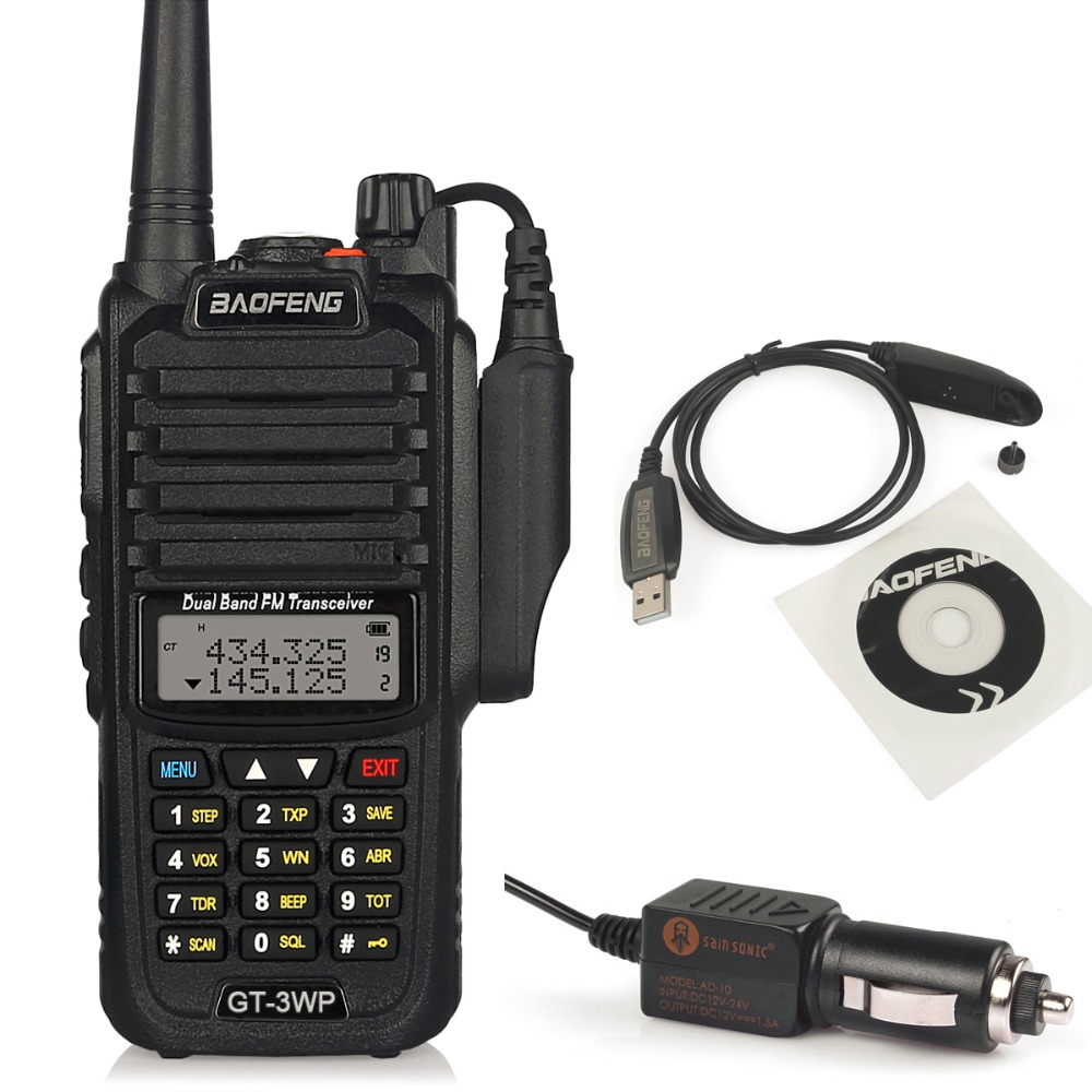 Baofeng GT-3WP IP67 Waterproof Dual-Band 2M/70cm Ham Two-way Radio Walkie Talkie + Programming Cable&CD+ Car Charge Cable
