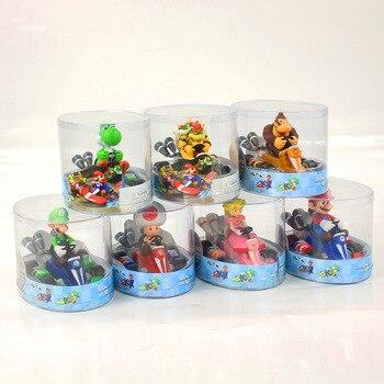 7 stili di Super Mario Bros Kart Figure Toy Mario Luigi Yoshi Toad Principessa Peach Koopa Bowser Donkey Kong Tirare Indietro auto Regali Del Capretto