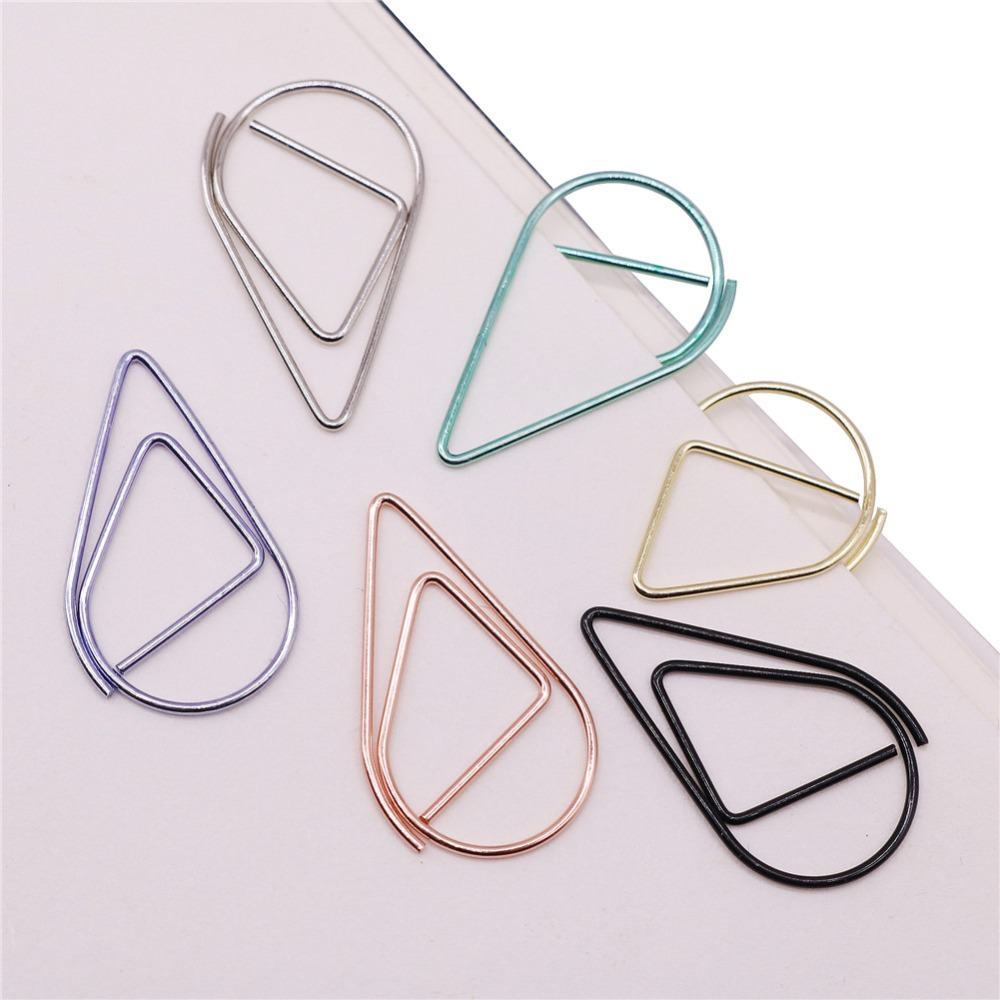 100 Pcs / Lot 2.5 * 1.5cm Modeling Paper Clips Metal Material Water Drop Shape Golden Silver Black Colored Bookmark Memo Clips