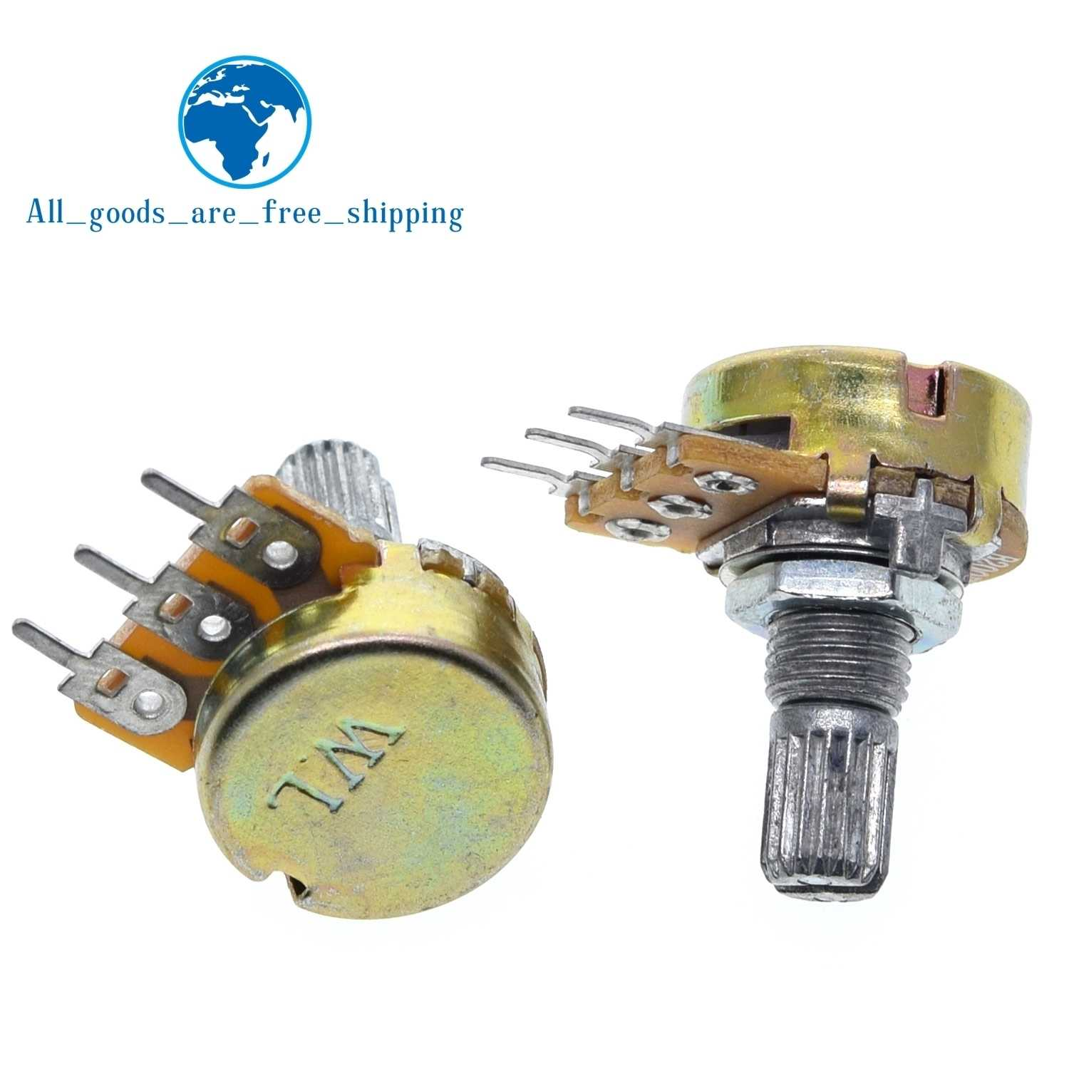 50PCS WH148 B20K Linear Potentiometer 15mm Shaft With Nuts And Washers