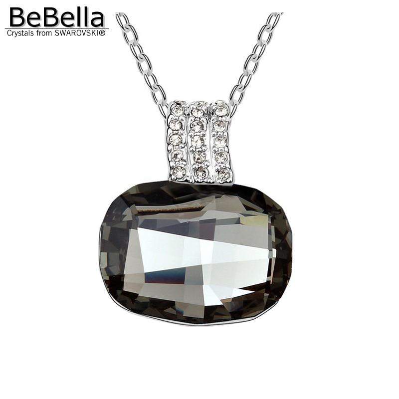 BeBella большой серый Хрустальный каменный кулон ожерелье сделано с австрийскими кристаллами от Swarovski для женщин подарок - Окраска металла: Black Diamond