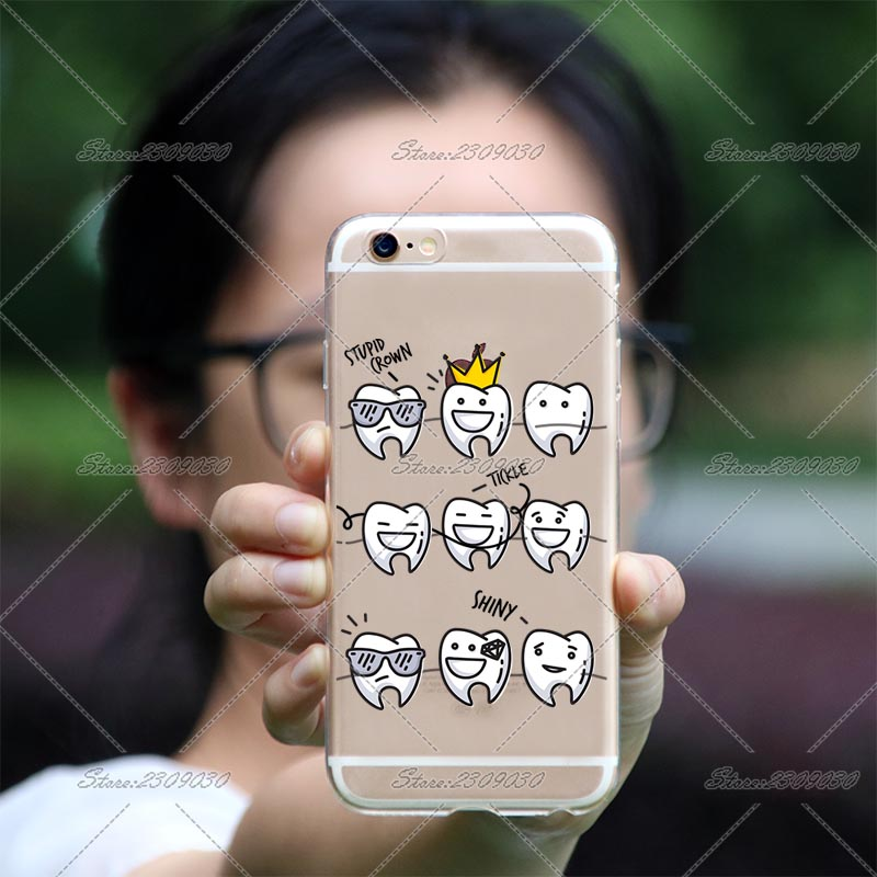 cute cartoon dentist dental crowned tooth phone case for iphone x 6s 6 plus 6s plus 5 5s se 7 8 plus transparent tpu cell cover in half wrapped case from