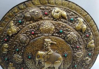 Copper Wall Decor | 23'' Nepal Bronze Gold Eight Auspicious Symbols Animal Elephant Wall Decor