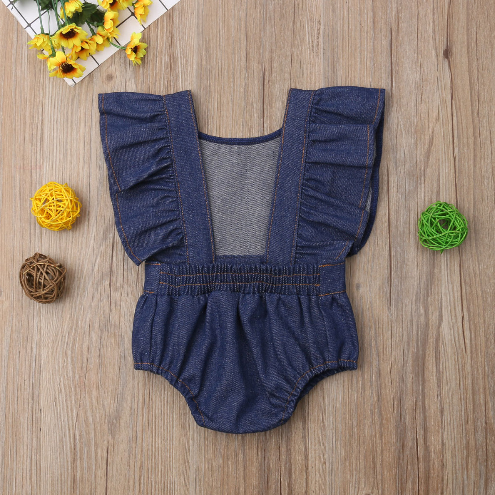 Family Clothes Matching Family Matching Outfits Toddler Baby Sister Denim Matching Girl Romper Party Dresses Sunsuit