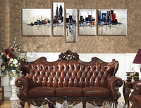 Handpainted 5 Pieces Modern Abstract ART Oil Painting Of City Building For Home Living Room Decorative