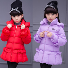 Kids Clothes 2019 new Pure color Long sleeve Girls Winter Coat High collar clothes cotton Jacket 3-12  Baby Girl Clothes цены онлайн
