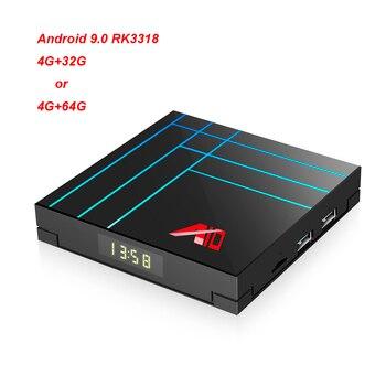 New TV Box Android 9.0 RK3318 4K Smart Media player Support RKMC18.1 Netflix Youtube, USB,WIFI