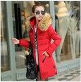 Coreano Mais Recente Moda Inverno Mulheres Down jacket collar cabelo Pesado Espessamento Com Capuz Quente Super Elegante Grandes estaleiros Casaco Fino G1737