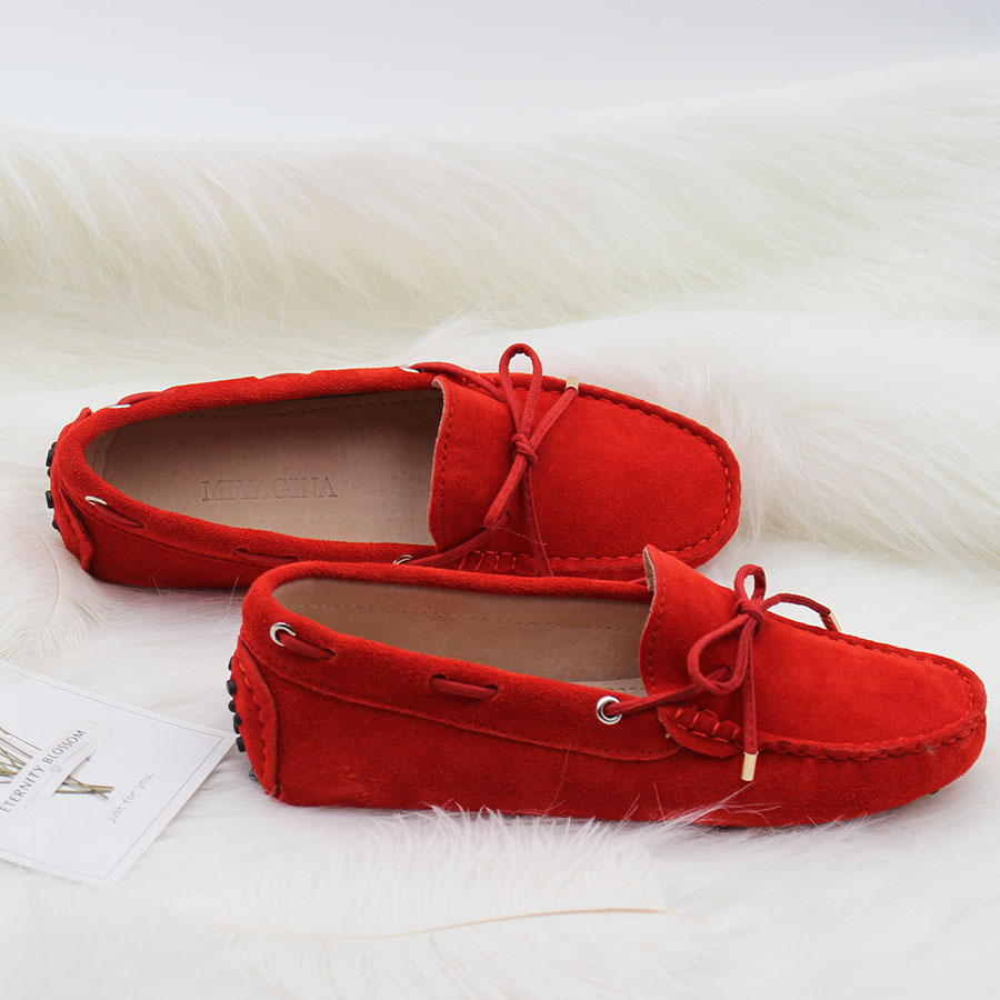 Spring Summer Top brand women Moccasins Shoes Genuine Leather women Flat Shoes Casual Loafers Slip On Driving shoes