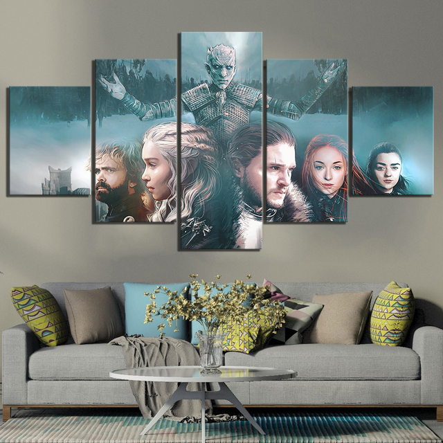 5 Piece Fantasy Art Paintings Game of Thrones Movie Poster A Song of Ice and Fire Poster HD Canvas Paintings for Wall Decor