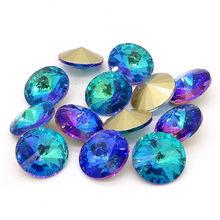 Nova luz azul elementos de vidro cristal rivoli solta contas jóias fazendo 12mm14mm16mm