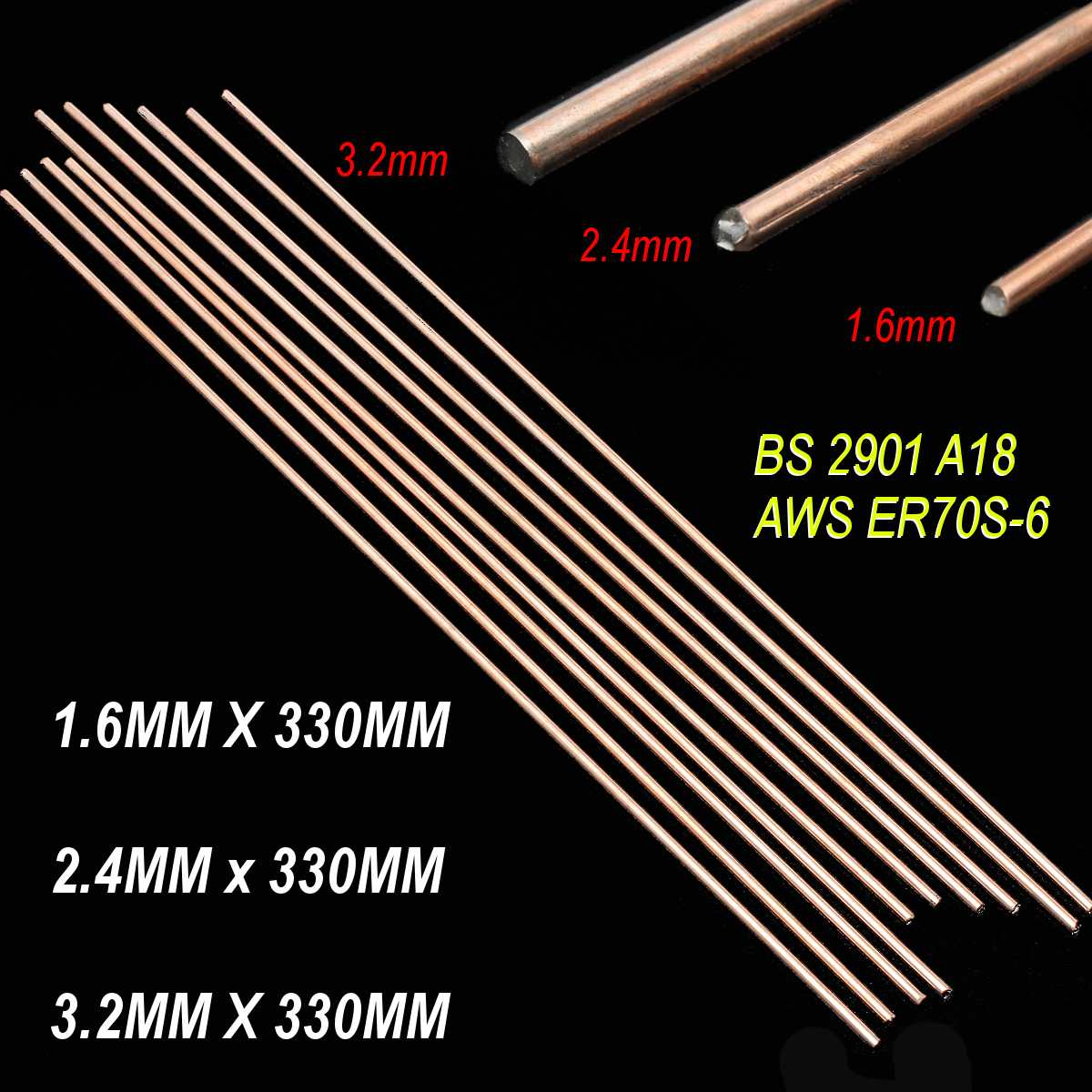 10pcs/set 1.6/2.4/3.2X330mm Red Copper Welding Brazing Wire Solder TIG Filler Rod A18 Steel Mild Steel