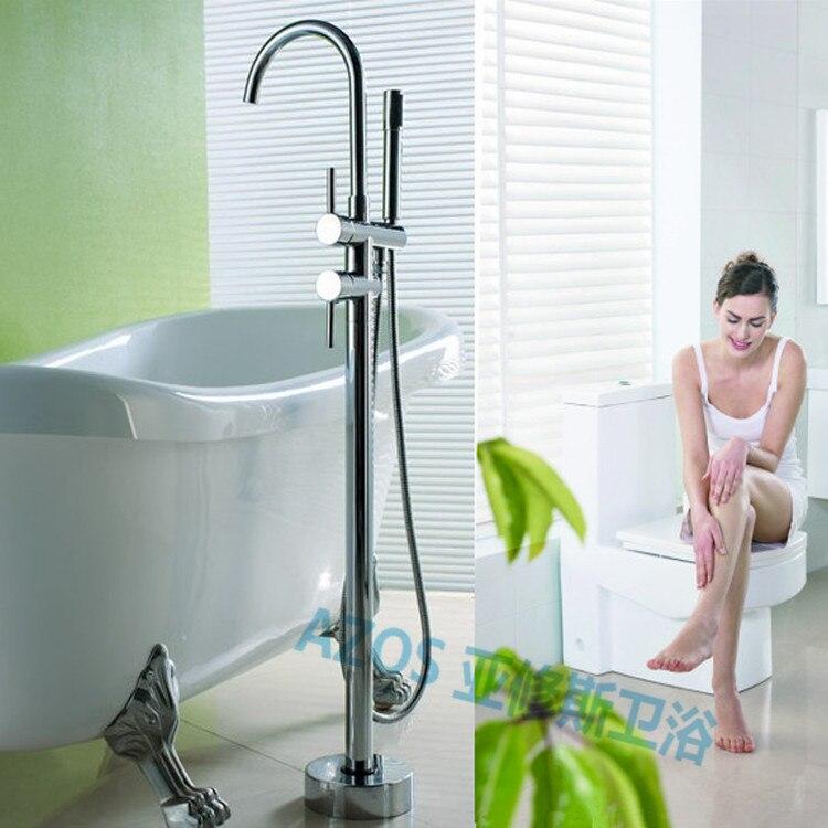 Luxury Bathtub Faucets Chrome Brass Water Mixers Floor Stand Hand Hold  Bathroom Shower Sauna Kit LDTZ011