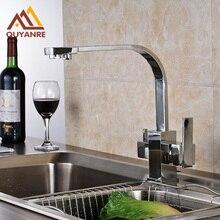 Очистки смеситель кухонный кран для горячей и холодной воды пить воду нажмите Яркий chrome