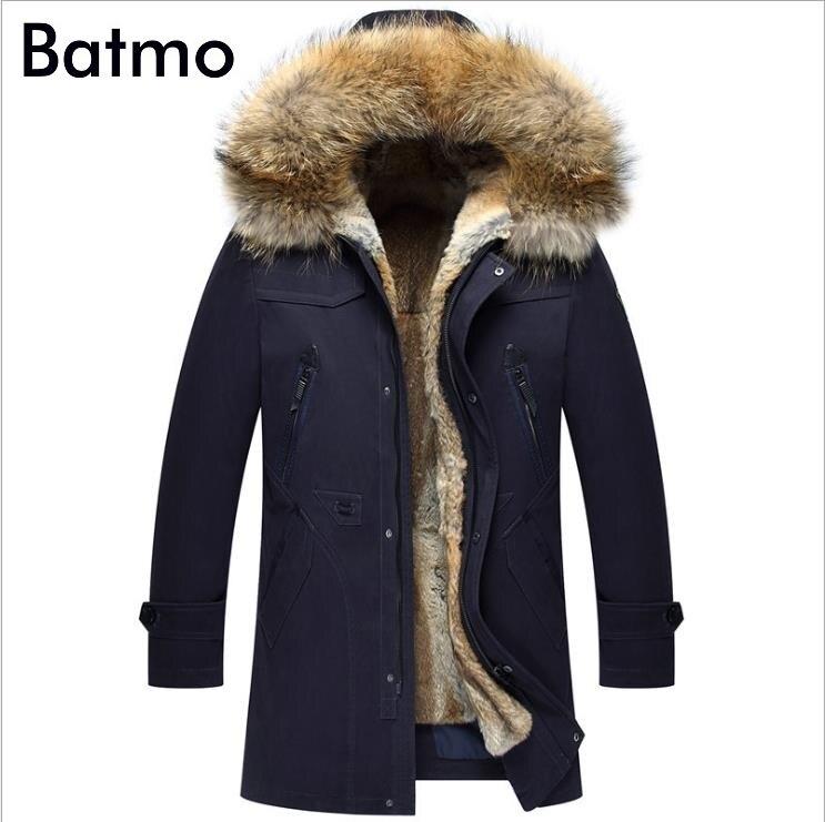 Batmo 2019 new arrival winter high quality warm rabbit fur liner hooded jacket men,raccoon fur collar winter warm coat men