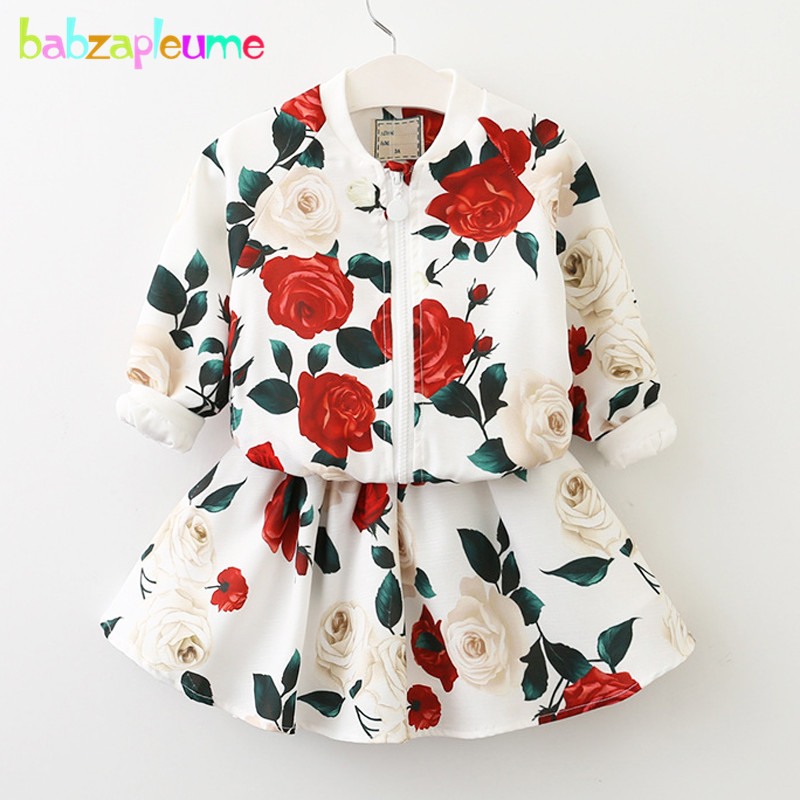2Piece/2-6Years/Spring Autumn Baby Girls Clothes Boutique Kids Clothing Sets Flower Jacket+Skirt Childrens Sports Suits BC1593
