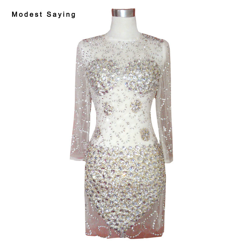 Sexy See Through Straight Long Sleeve   Cocktail     Dresses   2017 with Rhinestone Party Prom Gowns vestido curto de festa luxo YC20