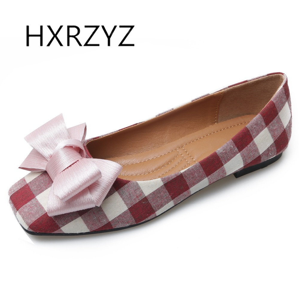 HXRZYZ large size women black flat shoes female plaid cotton loafers spring/autumn new fashion square toe bowknot casual shoes 2017 new spring female flat heels martin shoes bullock shoes female thick bottom loafers large size women shoes obuv ayakkab