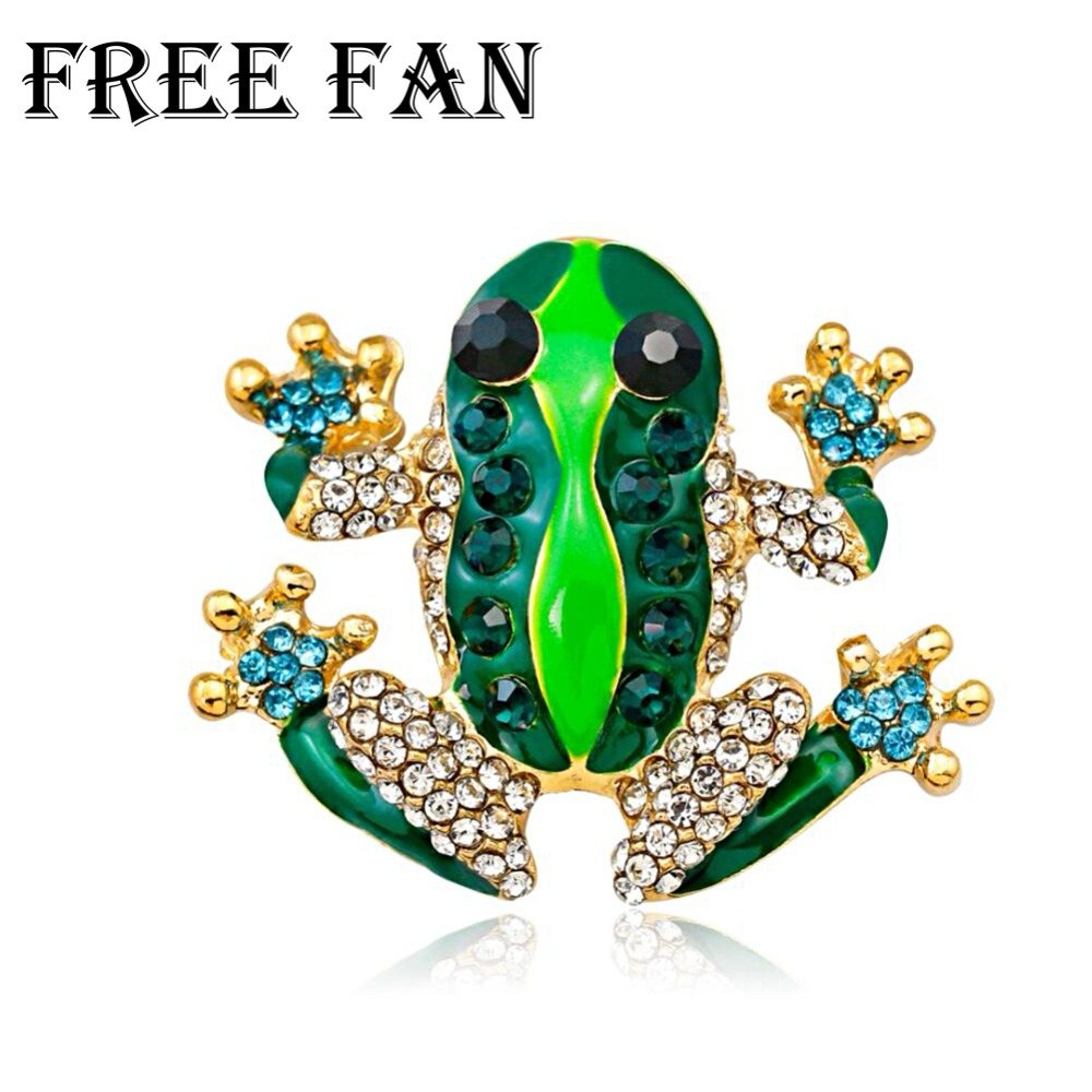 Free Fan Fashion Rhinestone Green Frog Brooch For Scarves Women Gold Safety Pin Brooches Hijab Accessories Gift
