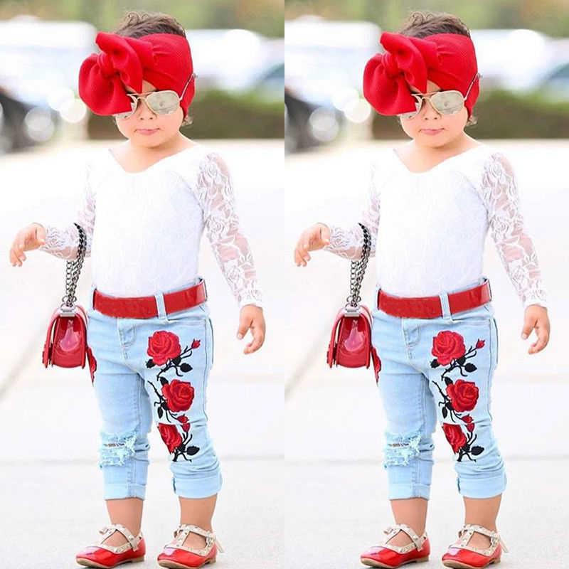 Детская одежда для девочек кружевная одежда с длинными рукавами Кружево  Топы Корректирующие + 3D цветок Джинсовые 959604f1f46
