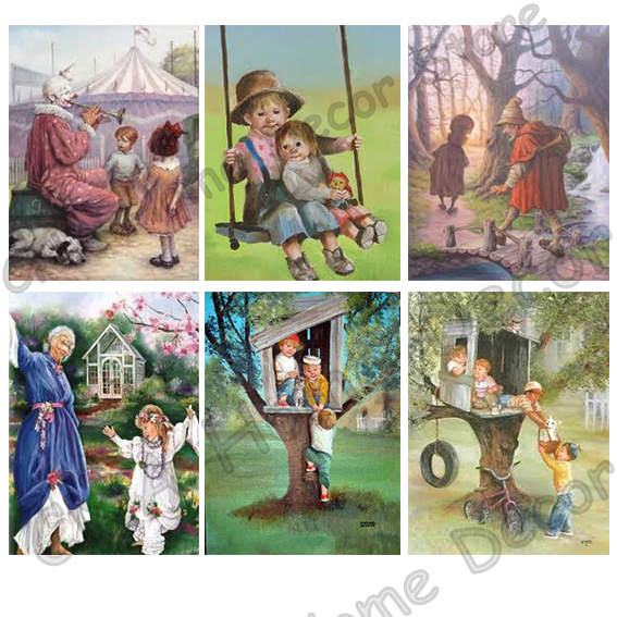 Grandparent Cartoon Playing Children Drill Resin Ribbon Mosaic 5D Diy Embroidery Diamond ...