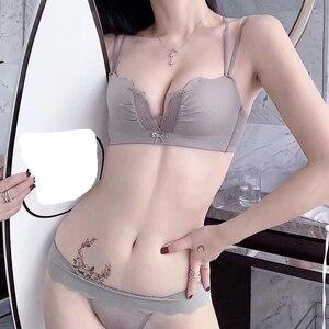 Image 2 - Kadın Iç Çamaşırı Külot Seti Push Up Sütyen Kablosuz Dantel Bralette Kalınlaşmak toplamak Seksi Iç Çamaşırı derin v boyun dikişsiz sütyen seti