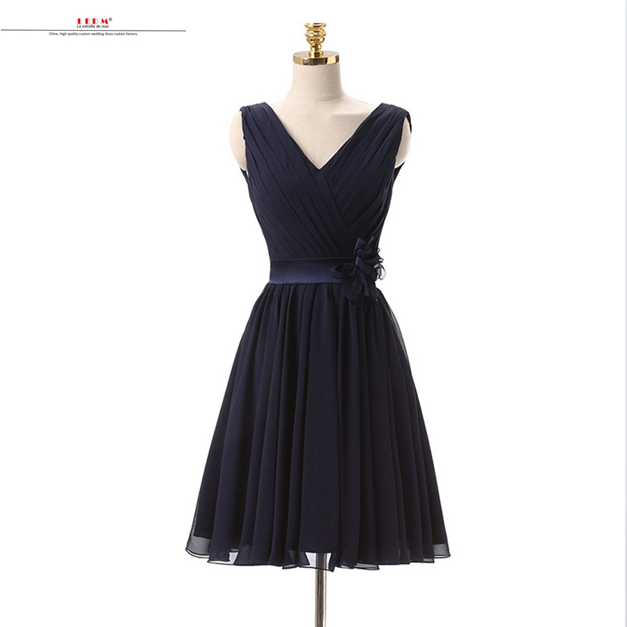 Robe fille d'honneur mariage2019 new chiffon sexy neck A line navy blue   bridesmaids     dresses   Knee Length wedding guest   dress   chea