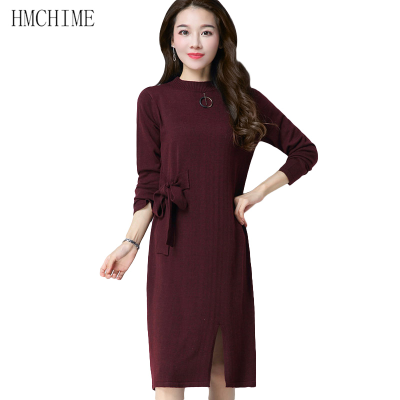 Autumn winter elastic waist knitted women dress fashion all match long sleeve round collar pure color ladies long dresses HM922 the explosion of the classic all match solid colored body hip high elastic denim pants feet female winter bag mail
