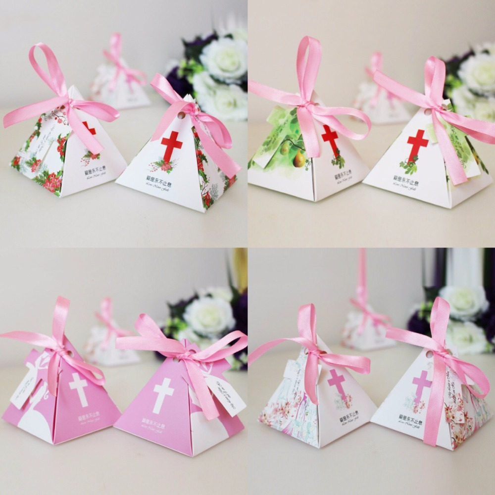 100pcs Jesus Christian Cross Triangular Pyramid candy box wedding ...