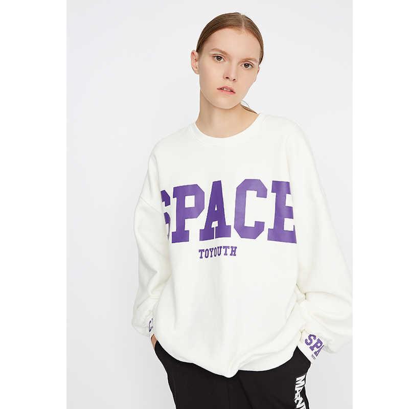 Toyouth sweter zimowy bluzy damskie Harajuku ponadgabarytowych bluza luźne O Neck z długim rękawem list Top Streetwear Top