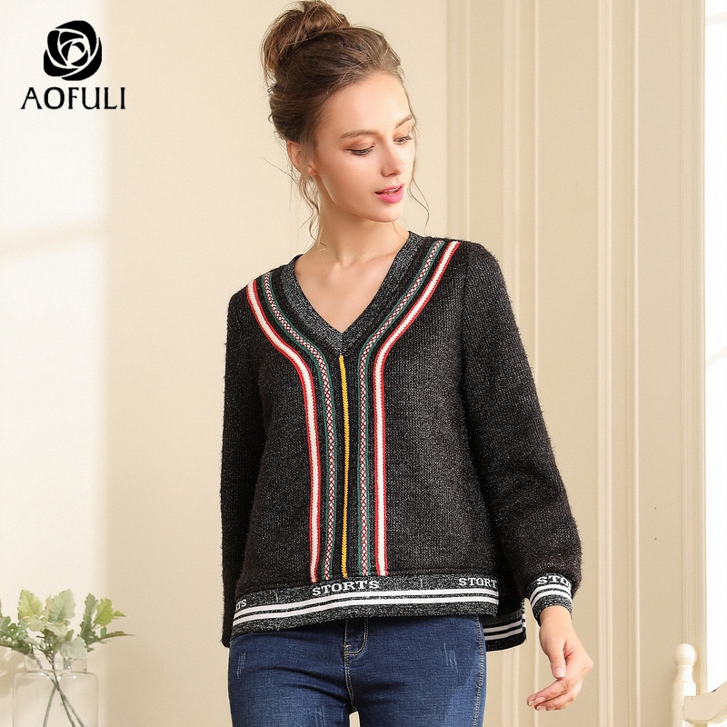 AOFULI Ethnic Embroidery Women Sweater For Winter Long Sleeve High-low Knit  Tops Autumn Chic. US  32.84. (1). AOFULI Women Black White Hollow Out Lace  Dress ... 1bc12123ad43